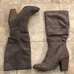 Merona Like New Gray Faux Suede Knee High Boots